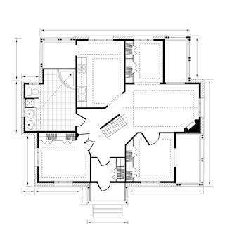 Plan een landhuis op een witte achtergrond