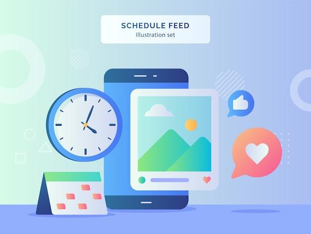 Plan feed illustratie set marker datum kalender achtergrond van klok foto smartphone feedback met vlakke stijl ontwerp