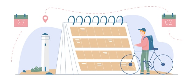 Plan vakantietijd, reisbestemming illustratie. man reiziger karakter met fiets staande naast grote kalenderherinnering of planner, planning toeristische route, toerismeconcept