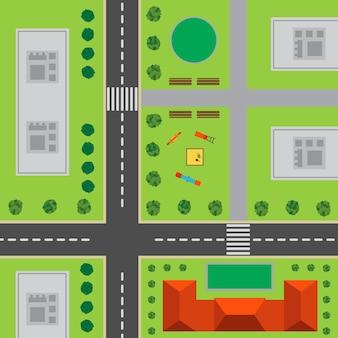 Plan van de stad. bovenaanzicht van de stad met de weg, kruispunt, hoogbouw, bomen, struiken, speeltuin en kantoorgebouw.