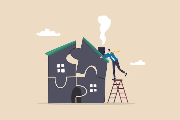 Plan voor het kopen van een nieuw huis of renovatie, hypothecaire lening of huisvestingskosten, onderhoud van onroerend goed of onroerendgoedverzekeringsconcept, slimme zakenman legt puzzel om huispuzzel te voltooien of af te werken.