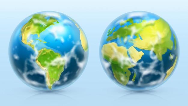 Planeet aarde. 3d-realistische set