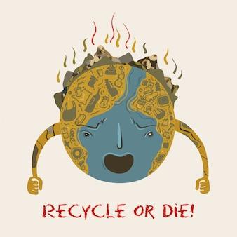 Planeet aarde die in een vuilnisbelt veranderde
