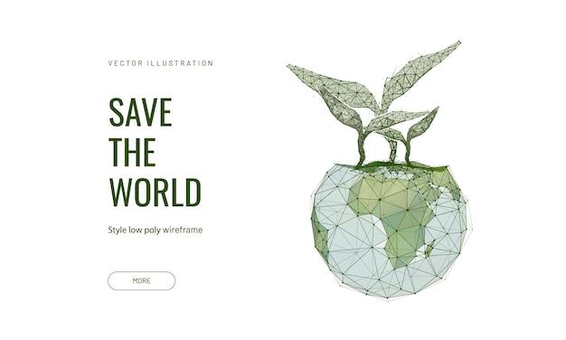 Planeet aarde en groene spruiten, concept van vruchtbare aarde