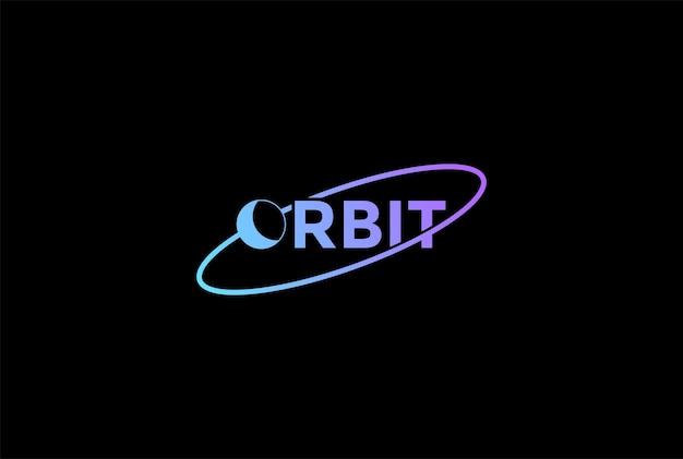 Planeet aarde maan baan tekst lettertype typografie word science logo design vector