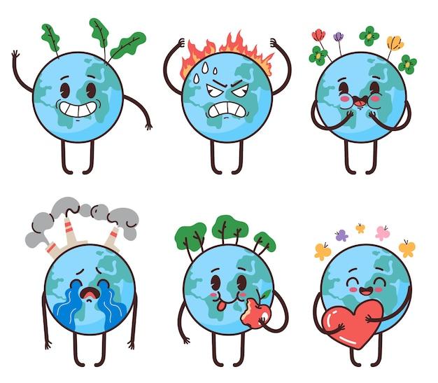 Planeet aarde mascotte karakter met verschillende emoties liefde gelukkig boos huilen happy earth day stickers geïsoleerde set vector platte cartoon grafische afbeelding
