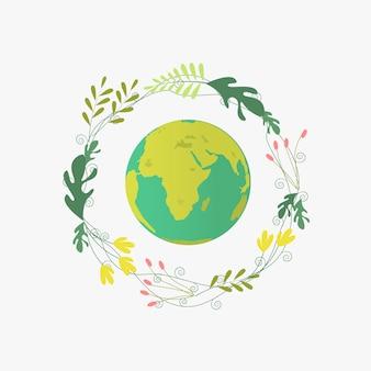 Planeet aarde met bloemencirkel