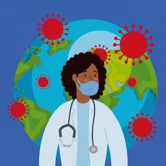 Planeet aarde met covid19 deeltjes en afro vrouwelijke arts