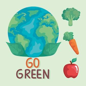 Planeet aarde met groenten