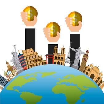 Planeet aarde met iconische monumenten van de wereld
