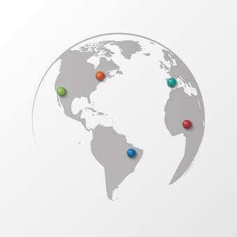 Planeet aarde met kleur pin plat ontwerp pin