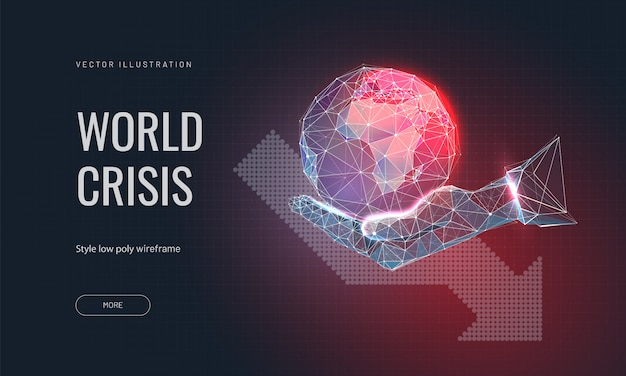 Planeet aarde op iemands hand en pijl naar beneden. wereldwijde crisis of wereldramp concept.