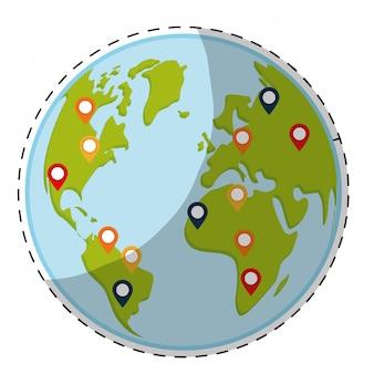 Planeet aarde pictogramafbeelding