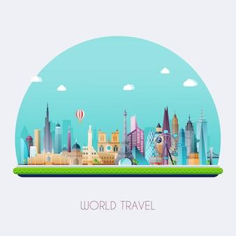 Planeet aarde reist de wereld rond. reizen en toerisme