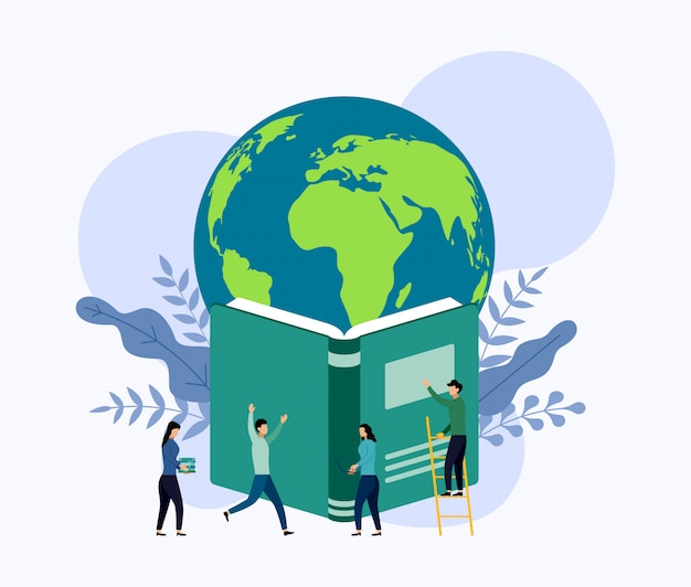 Planeet aarde zweeft boven het boek