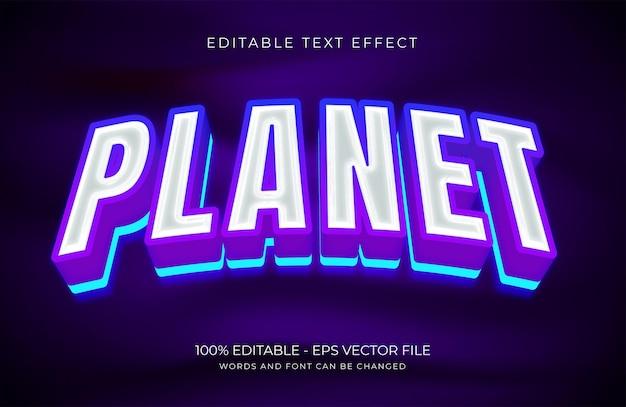 Planeet bewerkbaar teksteffect premium vector