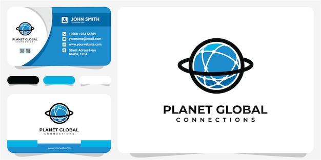 Planeet global network line icon, outline vector symbool illustratie met visitekaartje