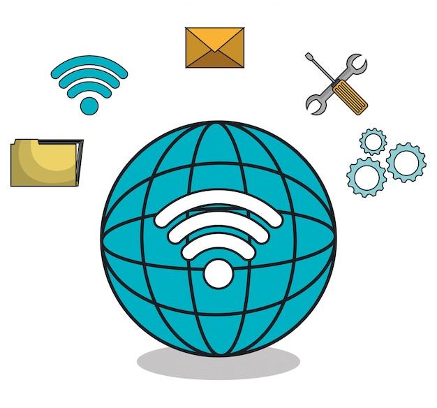 Planeet globe browser instellingen pictogrammen