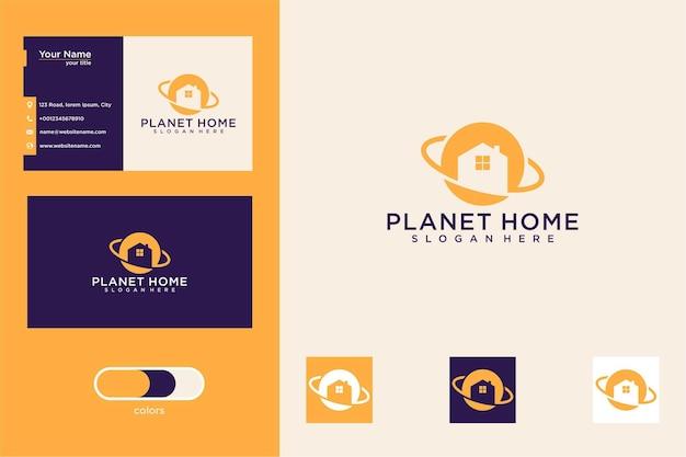 Planeet huis logo ontwerp en visitekaartje
