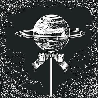 Planeet in de vorm van snoep op een stokje. ruimte illustratie.