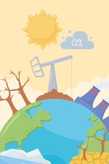 Planeet klimaatverandering illustratie