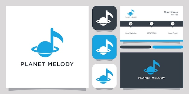 Planeet melodie logo en visitekaartje ontwerp.