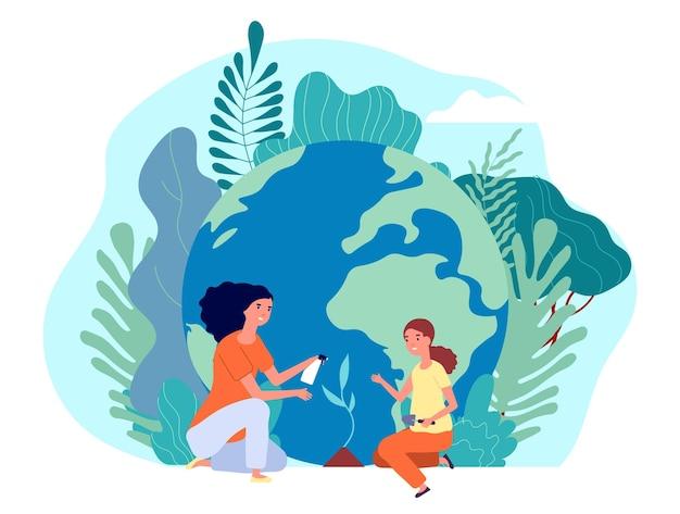 Planeet redden. milieudag, ecologievrouw en meisje die boom planten.