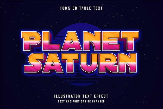 Planeet saturnus, bewerkbaar teksteffect gele gradatie roze neon tekststijl