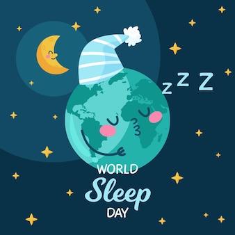 Planeet slapende wereld slaapdag