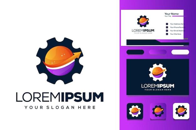 Planeet versnelling logo ontwerp visitekaartje