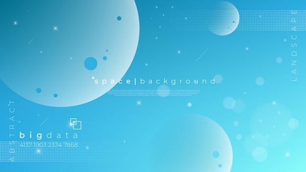 Planeetillustratie en een groep sterren op de hemelachtergrond