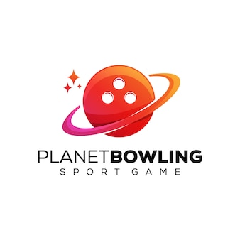 Planet bowling verloop logo, sport game logo ontwerpsjabloon