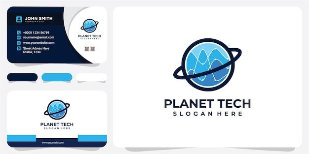 Planet data analytisch logo met modern line art concept en visitekaartje