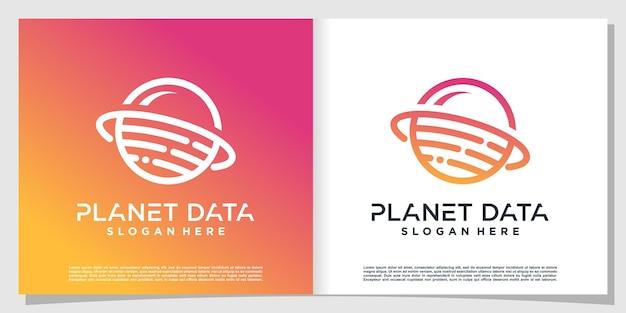 Planet data-logo met modern concept premium vector
