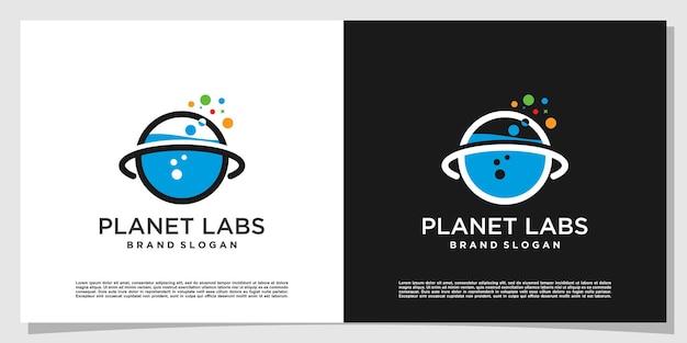 Planet labs-logo creatief met modern concept premium vector