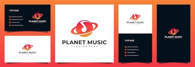 Planet music-logo met sjabloon voor visitekaartjes