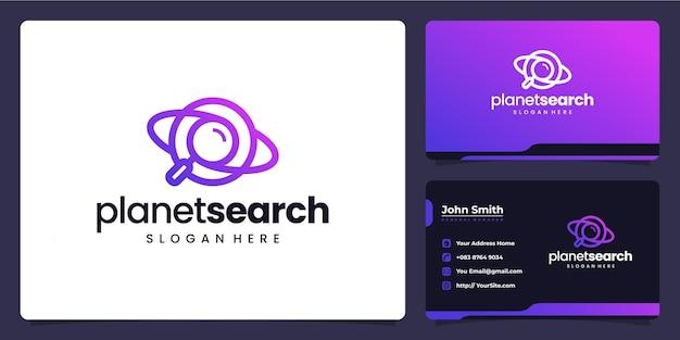 Planet-zoeklogo combineert ontwerp en visitekaartje
