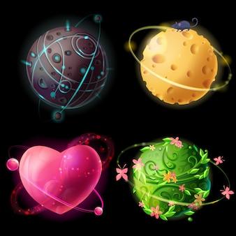 Planetaire verzameling van cartoonwerelden. fantastische, kosmische, buitenaardse ruimte-elementen