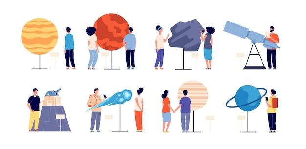 Planetarium. astronomie, excursie naar het observatorium voor mensen. astronomisch wetenschappelijk, planeten, zonnestelsel, telescoop