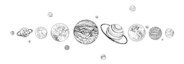 Planeten in rij opgesteld. zonnestelsel getekend in zwart-wit kleuren. zwaartekrachtgebonden hemellichamen in de ruimte. natuurlijke kosmische objecten gerangschikt in horizontale lijn. illustratie.