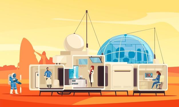 Planeten kolonisatie missie plat met expeditie van menselijke habitatstation op het oppervlak van mars