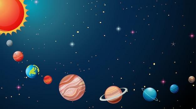 Planeten op de achtergrond van het zonnestelsel