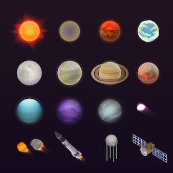 Planeten pictogramserie. isometrische set van planeten vector iconen voor webdesign geïsoleerd op een witte achtergrond