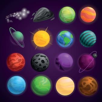 Planeten ruimte pictogramserie