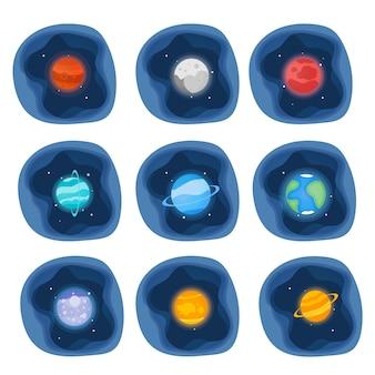Planeten van de zonnestelsel pictogrammen instellen