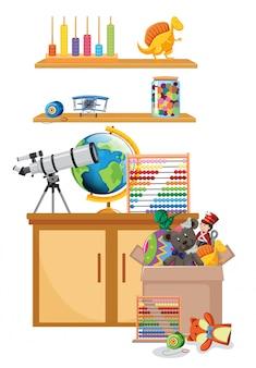 Plank en doos vol met speelgoed