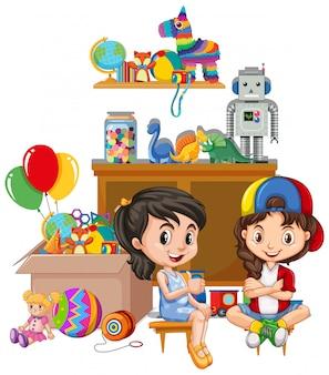 Plank en dooshoogtepunt van speelgoed op witte achtergrond
