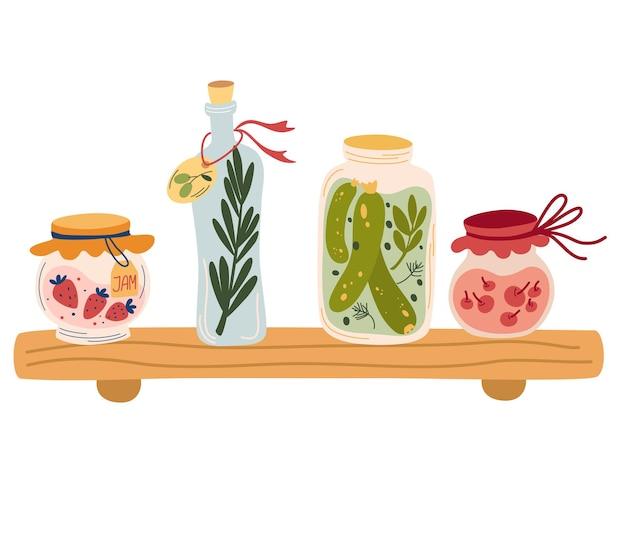 Plank met jam en verschillende potten. glazen potten met compotes, augurken, jam en olijfolie. concept van het oogsten van groenten en fruit voor de winter. zelfgemaakte conserven. ingeblikt voedsel. vector illustratie