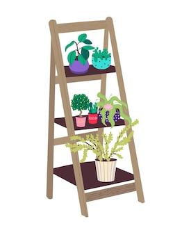 Plank met kamerplanten. houten trapstandaard voor bloemen. vlakke afbeelding in doodle-stijl.