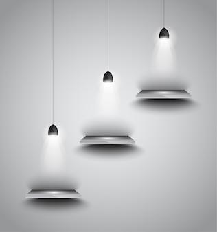Planken met 3 spots lamp met gericht licht